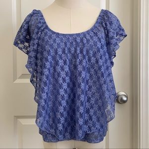 Blue American Rag floral lace top